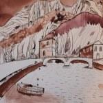 Gardasee Version 2 39,5 x 30 cm (c) Zeichnung von Susanne Haun