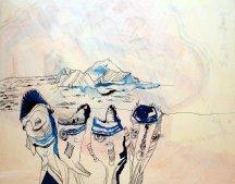 Entstehung von Tulugaqs Weg zur Erkenntnis - 70 x 100 cm - Tusche auf Leinwand (c) Susanne Haun