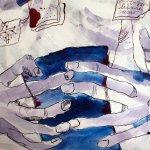Ausschnitt Nietzsche und das Kutschpferd - 80 x 60 cm (c) Zeichnung auf Leinwand von Susanne Haun