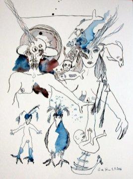 Sedna und Angakkuq - Tusche auf Aquarellkarton Britannia - 40 x 30 cm (c) Zeichnung von Susanne Haun
