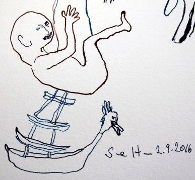 Detail Sedna und Angakkuq - Tusche auf Aquarellkarton Britannia - 40 x 30 cm (c) Zeichnung von Susanne Haun