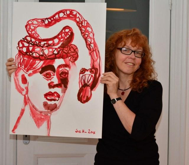 5 Weisse Schlange - Tusche auf Bütten - 70 x 50 cm - Susanne Haun (c) Foto von M.Fanke