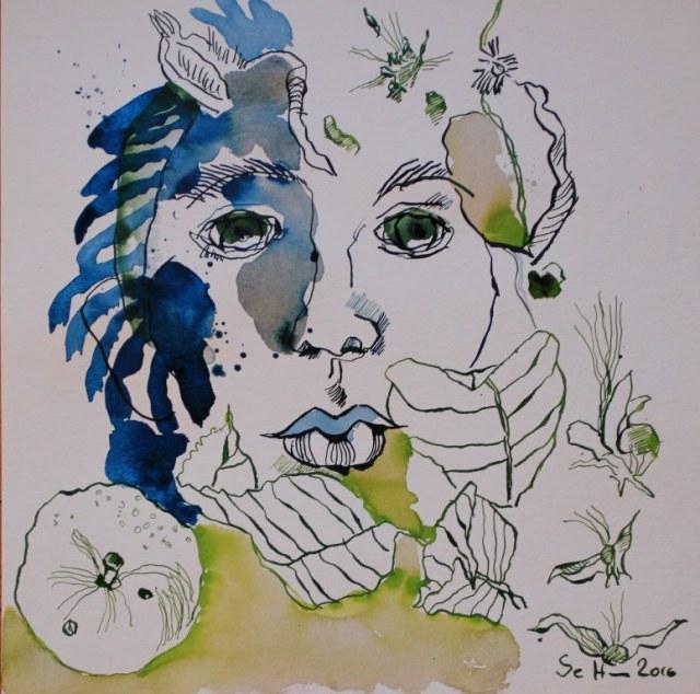 Apfelgesicht - Tusche auf Aquarellkarton - 25,4 x 25,4 cm (c) Zeichnung von Susanne Haun