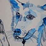 Detail Hundemann - 30 x 40 cm - Tusche auf Aquarellkarton (c) Zeichnung von Susanne Haun