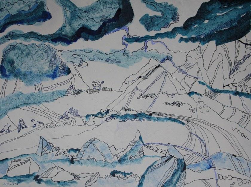 Eine Landschaft morgen - 60 x 80 cm - Tusche auf Leinwand (c) Zeichnung von Susanne Haun