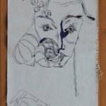 1 Entstehung abstrakte Naturform 144 x 33 cm (c) Zeichnung auf Leinwand von Susanne Haun