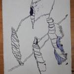 1 Herbst - Tusche auf Leinwand -Detail - 144 x 33 cm (c) Zeichnung von Susanne Haun