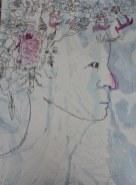1 Entstehung der Erinnerung im Gestern - 60 x 80 cm - Tusche auf Leinwand (c) Zeichnung von Susanne Haun