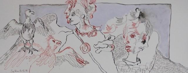 1 Wahr oder Falsch - Postfaktisch - 20 x 60 cm (c) Zeichnung von Susanne Haun