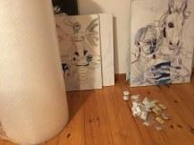 3 Knallfolio zum Verpacken der Leinwände (c) Foto von Susanne Haun