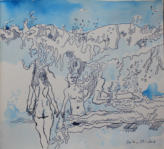 3 Alleine durch das Wasser - 30 x 35 cm - Tusche auf Aquarellkarton (c) Zeichnung von Susanne Haun