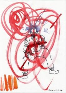 #3-1 Ich war im Kreis der Wartenden - 20 x 30 cm - Tusche und Aquarell auf Zeichenpapier (c) Zeichnung von Susanne Haun