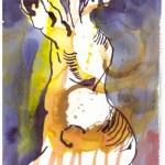 4 Dessen Füsse er mit Eisenzange kopfüber hielt - Tusche und Aquarell auf Büttenpapier - Version 2 (c) Zeichnung von Susanne Haun