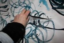 13 Schnitt- Arbeiten an - recto und verso - Leinwand - 256 x 150 cm (c) Zeichnung von Susanne Haun