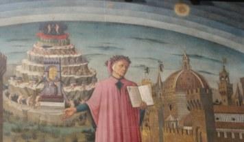 Ausschnitt - Dante und sein berühmtes Epos - Fresko von Domenico di Michelino in Santa Maria del Fiore, Florenz 1465 (c) Foto von Susanne Haun