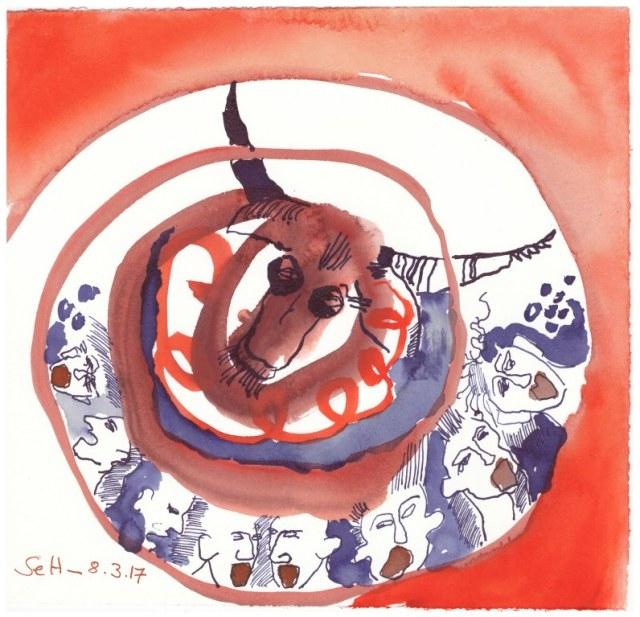 Gesang von der Ankunft der Seelen - 18 x 19 cm - Tusche und Aquarell auf Bütten (c) Zeichnung von Susanne Haun