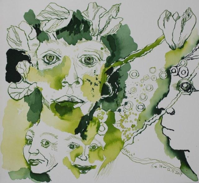 ... und dabei sehr fröhlich und sorglos - 30 x 40 cm - Tusche auf Aquarellkarton (c) Zeichnung von Susanne Haun