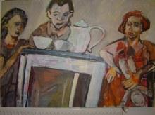 Am Frühstückstisch - Mai 2006 - 150 x 100 cm - Acryl auf Leinwand (c) Gemälde von Susanne Haun