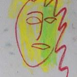 Punkt, Punkt, Komma, Strich - fertig ist das Mondgesicht (c) Pastell von Susanne Haun