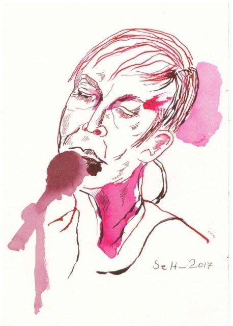 Annie Lennox - Version 2 - 17 x 24 cm - Tusche auf Hahnemühle Aquarellkarton Burgund (c) Zeichnung von Susanne Haun