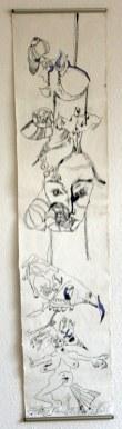 Wie aus Uinigumasuittuq Sedna, die Herrscherin der Meere wurde - Verso - 145 x 33 cm - Tusche und Acryl auf Leinwand (c) Susanne Haun