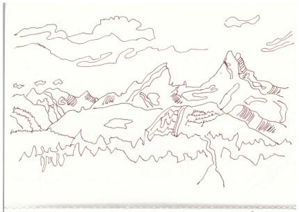 Der Watzmann - Berchtesgadener Land (c) Zeichnung von Susanne Haun