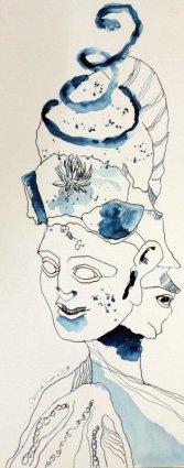 Hoplit mit Strohblume - 50 x 20 cm - Tusche auf Hahnemühle Aquarellkarton (c) Zeichnung von Susanne Haun