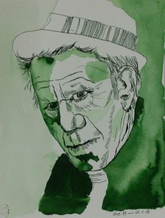 Mein Sinnbild von Tom Waits - 32 x 24 cm - Tusche auf Aquarellkarton - 2018 (c) Zeichnung von Susanne Haun