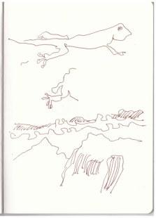 Afrika 1. Skizzenbuch - Kapstadt - Tafelberg (c) Zeichnung von Susanne Haun