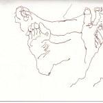 Im Bus, T und meine Fuesse (c) Zeichnung von Susanne Haun