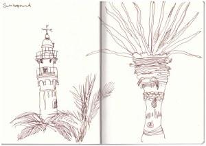 Der Leuchttumr in Swakopmund (c) Zeichnung von Susanne Haun
