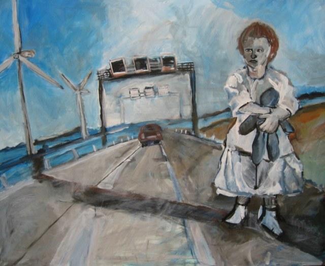 Auf der Autobahn - 100 x 80 cm - Acryl und Tusche auf Leinwand - 2006 (c) Gemälde von Susanne Haun