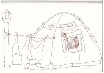 Wäsche trocknen zwischen Zelt und Laterne (c) Zeichnung von Susanne Haun