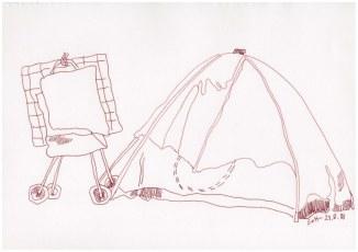 Im Zelt - Obdachlos - 30 x 40 cm - Zeichnung von Susanne Haun (c) VG Bild Kunst, Bonn 2018