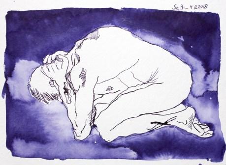 Alles um ihn her war in tiefes Dunkel gehüllt - Tusche auf Aquarellkarton - 23 x 32 cm - Zeichnung von Susanne Haun (c) VG Bild Kunst, Bonn 2018