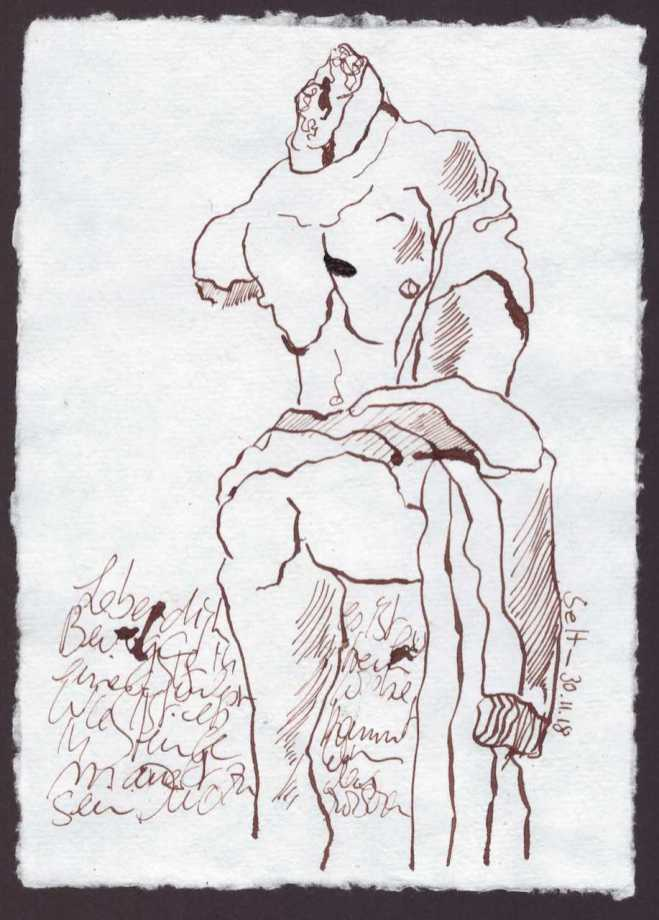 Der Stand der Dinge - 15 x 20 cm - Silberburg Büttenpapier - Zeichnung von Susanne Haun (c) VG Bild Kunst, Bonn 2018