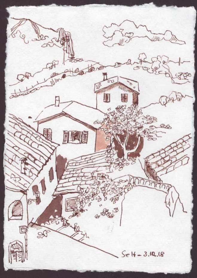 Ich schaue aus dem Fenster und imaginiere die Erhabenheit der Berge - Version 3 - 15 x 20 cm - Silberburg Büttenpapier - Zeichnung von Susanne Haun (c) VG Bild Kunst, Bonn 2018