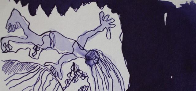 Er legte sich auf dem Bauch, Ausschnitt 40 x 30 cm, Tusche auf Hahnemuehle Aquarellkarton, Zeichnung von Susanne Haun (c) VG Bild-Kunst, Bonn 2019