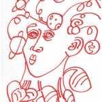 Ich und die Weltenseele, Marker auf Hahnemuehle Layoutpapier, Zeichnung von Susanne Haun, 29,5 x 21 cm (c) VG Bild-Kunst, Bonn 2019