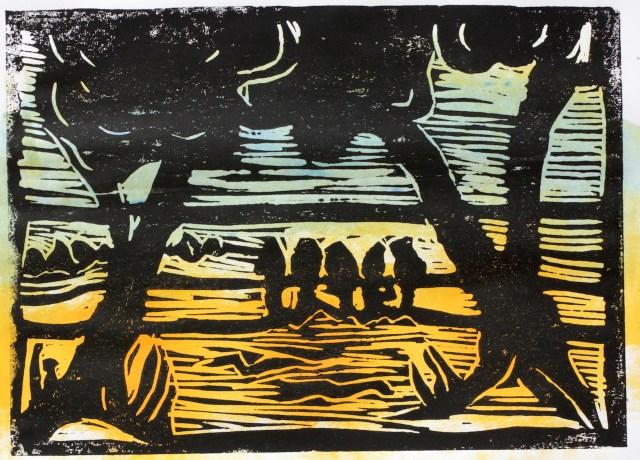Bild 1 - Zwischen Straupitz und Laasow - Version 1 - Linolschnitt von Susanne Haun - 15 x 21 cm - 1 von 12