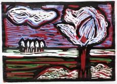 Bild 6 - Zwischen Straupitz und Laasow - Version 2 - Linolschnitt von Susanne Haun - 15 x 21 cm - 2 von 23