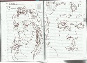 Selbstbildnistagebuch 5. bis 20.3.2019, Zeichnung von Susanne Haun (c) VG Bild-Kunst, Bonn 2019