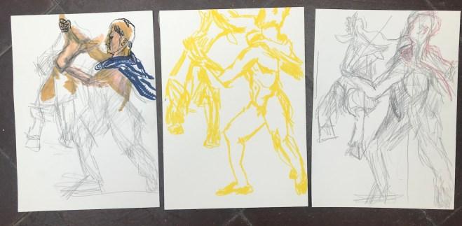 Drei Studien zum Farnesische Stier in der Abgusssammlung Berlin, Zeichnung von Susanne Haun, Bleistift und Marker (c) VG Bild-Kunst, Bonn 2019