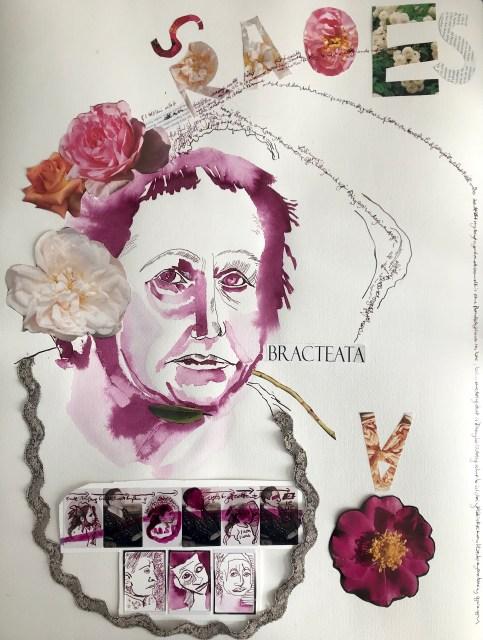 Mein Sinnbild von Gertrude Stein, 65 x 50 cm, Tusche auf Hahnemuehle Aquarellkarton, Collage von Susanen Haun (c) VG Bild-Kunst, Bonn 2019