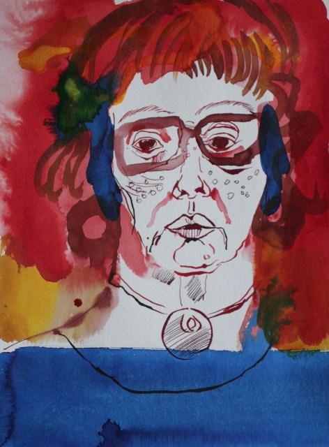 Selbst in Rot Blau, Tusche auf Aquarellkarton, 32 x 24 cm, Zeichnung von Susanne Haun (c) VG Bild-Kunst, Bonn 2019