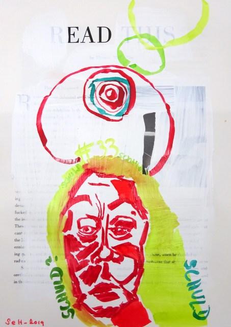Wer ist ohne Schuld, 30,5 x 22,7 cm, Marker auf Katalog, Aneignung, Zeichung von Susanne Haun (c) VG Bild-Kunst, Bonn 2019