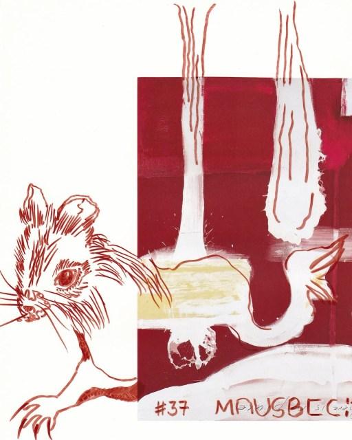 Maus am Spülbeckenrand, Vers. 2, 30,5 x 22,7 cm, Marker auf Katalog, Aneignung, Zeichung von Susanne Haun (c) VG Bild-Kunst, Bonn 2020