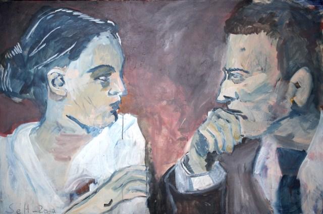 Von Angesicht zu Angesicht - Zwiegespräch, 80 x 120 x 2 cm, Malerei in Acryl auf Leinwand, 2005 (c) Gemälde von Susanne Haun