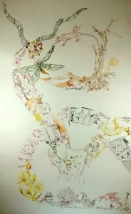 2. Lighroom Movement of Capetown, South Africa, 200 x 125 cm, Tusche auf Aquarellkarton, Zeichnung von Susanne Haun (c) VG Bild-Kunst, Bonn 2020