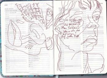 Selbstbildnisstagebuch 08.02.2020 – 17.03.2020, Zeichnung von Susanne Haun (c) VG Bild-Kunst, Bonn 2020